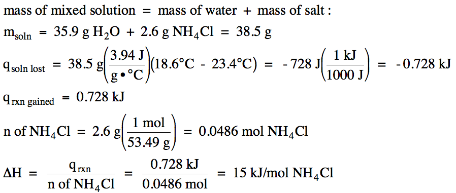 determination of heat of neutralization Calculate the heat of neutralization using the fomula q = mcδt, where q is the heat of neutralization, m is the mass of your acid, c is the specific heat capacity for aqueous solutions, 41814 joules(grams x °c), and δt is the change in temperature you measured using your calorimeter.