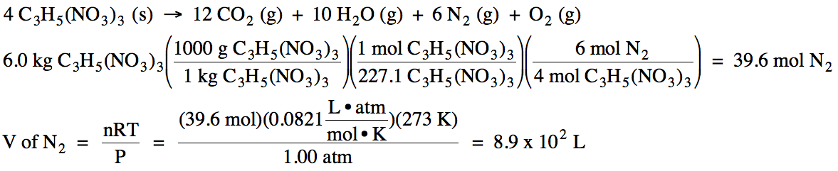 Nitroglycerin equation liquid decomposition
